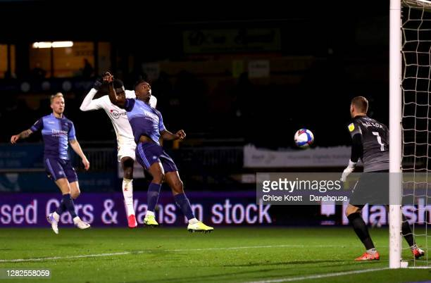 Ismaila Sarr of Watford FC scores his teams first goal during the Sky Bet Championship match between Wycombe Wanderers and Watford at Adams Park on...