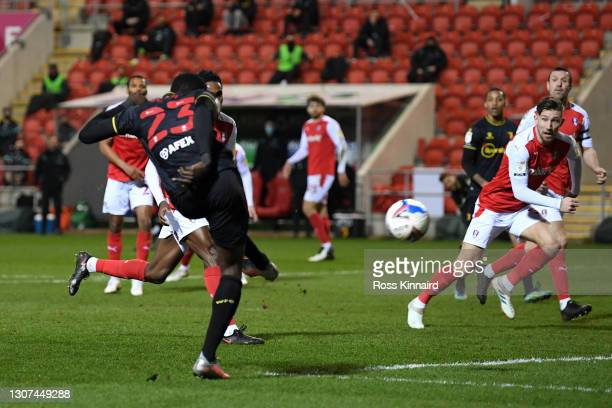 Ismaila Sarr of Watford FC scores their team's second goal during the Sky Bet Championship match between Rotherham United and Watford at AESSEAL New...