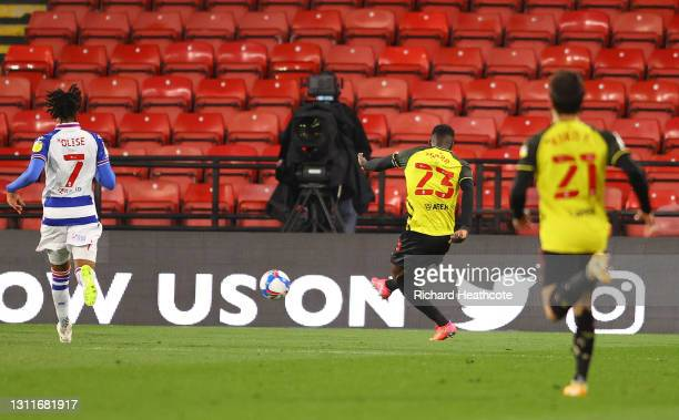 Ismaila Sarr of Watford FC scores their team's second goal during the Sky Bet Championship match between Watford and Reading at Vicarage Road on...