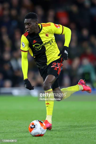 Ismaila Sarr of Watford in action during the Premier League match between Watford FC and Liverpool FC at Vicarage Road on February 29 2020 in Watford...