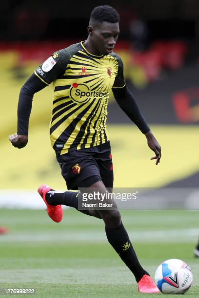 Ismaila Sarr of Watford in action during the Sky Bet Championship match between Watford and Luton Town at Vicarage Road on September 26 2020 in...