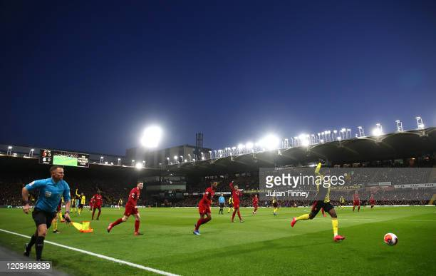 Ismaila Sarr of Watford runs onto the ball during the Premier League match between Watford FC and Liverpool FC at Vicarage Road on February 29 2020...