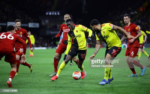 Ismaila Sarr of Watford runs with the ball during the Premier League match between Watford FC and Liverpool FC at Vicarage Road on February 29 2020...
