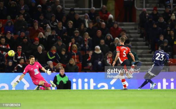 Ismaila Sarr of Watford scores his team's first goal during the Premier League match between Southampton FC and Watford FC at St Mary's Stadium on...