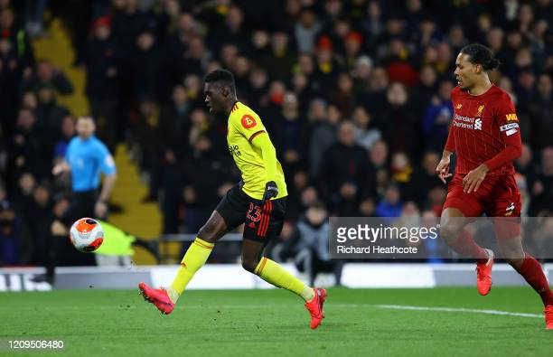 Ismaila Sarr of Watford scores his team's second goal during the Premier League match between Watford FC and Liverpool FC at Vicarage Road on...
