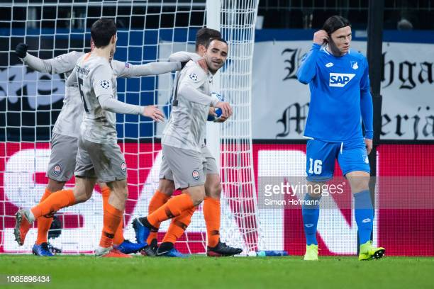 Ismaily of Donetsk celebrates his team's first goal with team mates during the UEFA Champions League Group F match between TSG 1899 Hoffenheim and FC...