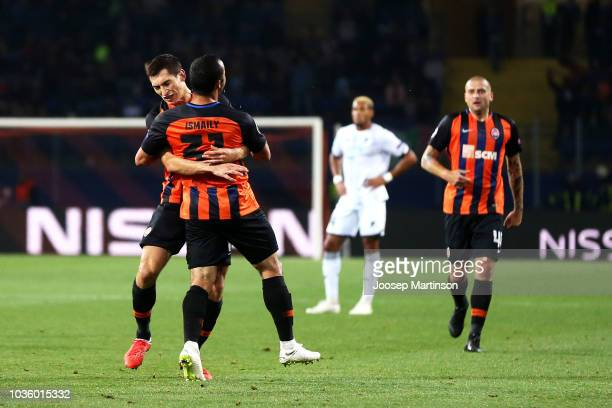 Ismaily of Shakhtar Donetsk celebrates after scoring his team's first goal with his team mates during the Group F match of the UEFA Champions League...