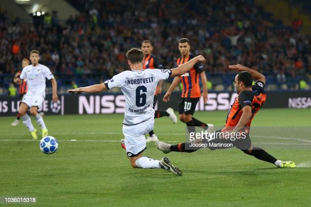 Ismaily of Shakhtar Donetsk scores his team's first goal during the Group F match of the UEFA Champions League between FC Shakhtar Donetsk and TSG...