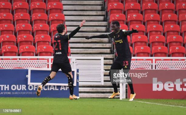 Ismaïla Sarr of Watford celebrates scoring the second goal during the Sky Bet Championship match between Stoke City and Watford at Bet365 Stadium on...