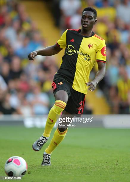Ismaïla Sarr of Watford during the Premier League match between Watford FC and Arsenal FC at Vicarage Road on September 14 2019 in Watford United...