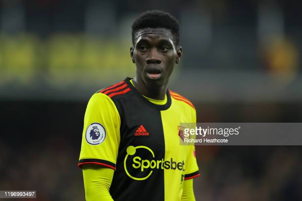 Ismaïla Sarr of Watford in action during the Premier League match between Watford FC and Wolverhampton Wanderers at Vicarage Road on January 01 2020...