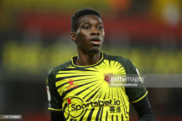 Ismaïla Sarr of Watford in action during the Sky Bet Championship match between Watford and Barnsley at Vicarage Road on January 19, 2021 in Watford,...