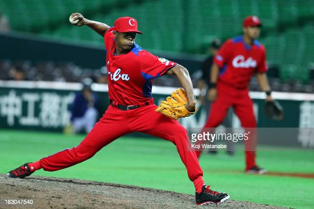 Ismel Jimenez of Cuba in action during the World Baseball Classic First Round Group A game between Brazil and Cuba at Fukuoka Yahoo Japan Dome on...