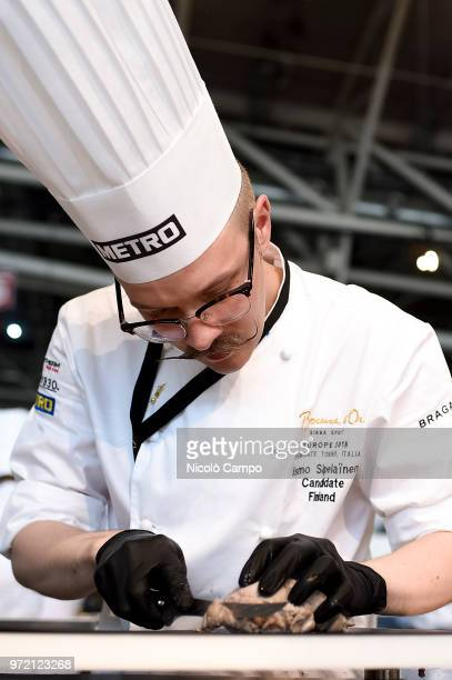 Ismo Sipelainen of Finland cooks during the Europe 2018 Bocuse d'Or International culinary competition Best ten teams will access to the world final...