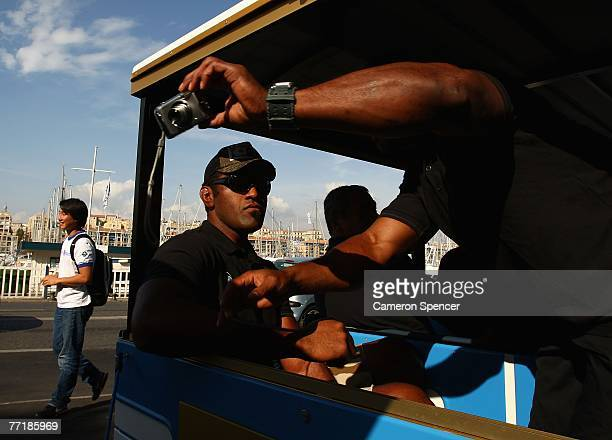Isoa Domolailai of Fiji relaxes on a tourist bus heading for the Basilique NotreDame de la Garde on October 4 2007 in Marseille France