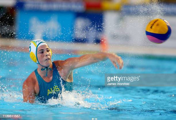 Isobel Bishop of Australia takes a shot at goal during the 2019 FINA World League Inter-Continental Cup Woman's Gold medal match between Australia...