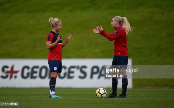Isobel Christiansen and Alex Greenwood of England Women during a training session at St Georges Park on November 21 2017 in BurtonuponTrent England
