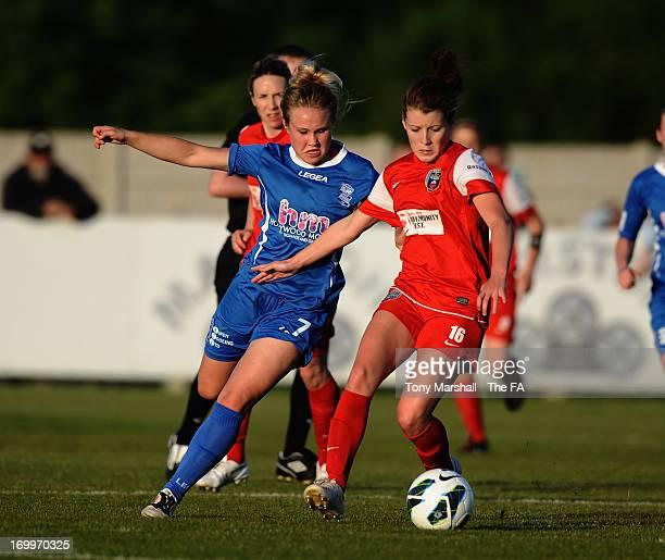 Isobel Christiansen of Birmingham City tackles Angharad James of Bristol Acadamy during The FA Women's Super League match between Birmingham City...