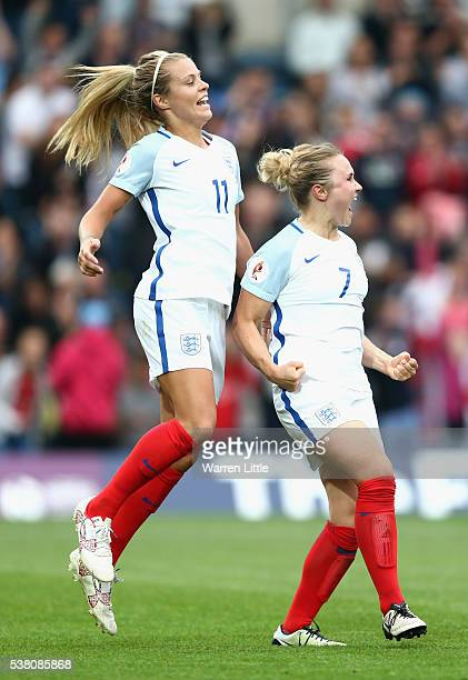 Isobel Christiansen of England celebrtares with team mate Rachel Daly after scoring a goal during the UEFA Women's European Championship Qualifying...