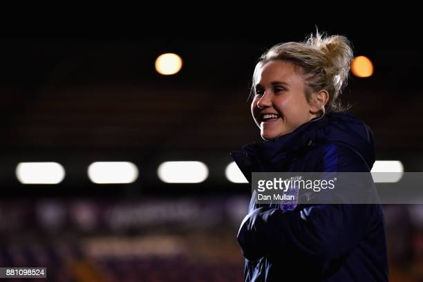 Isobel Christiansen of England looks on prior to the FIFA Women's World Cup Qualifier between England and Kazakhstan at Weston Homes Community...