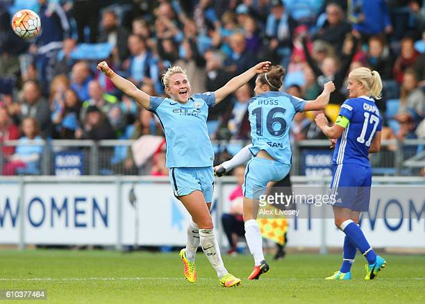 Isobel Christiansen of Manchester City Women celebrates as they win the WSL title after the WSL 1 match between Manchester City Women and Chelsea...