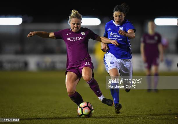 Isobel Christiansen of Manchester City Women is challenged by Rachel Williams of Birmingham City Ladies during the WSL match between Birmingham City...