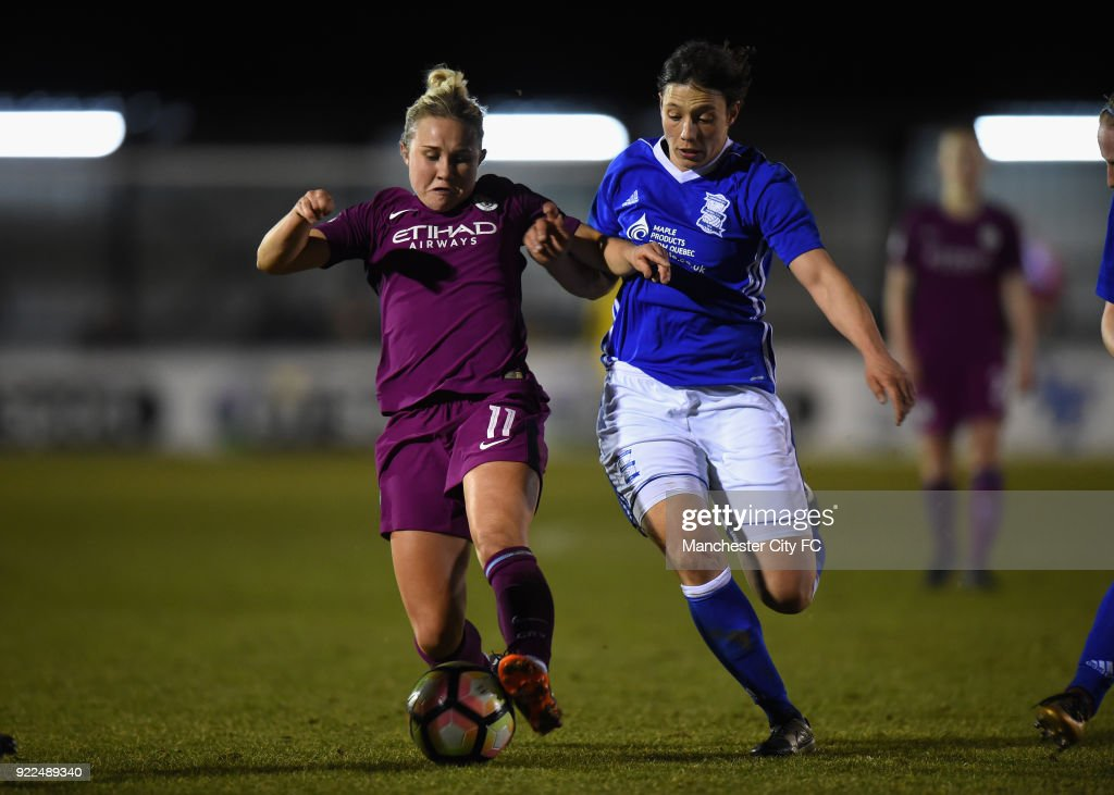 Isobel Christiansen of Manchester City Women is challenged by Rachel Williams of Birmingham City Ladies during the WSL match between Birmingham City Ladies and Manchester City Women at Damson Park on February 21, 2018 in Solihull, England.