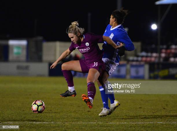 Isobel Christiansen of Manchester City Women is tackled by Jess Carter of Birmingham City Ladies during the WSL match between Birmingham City Ladies...