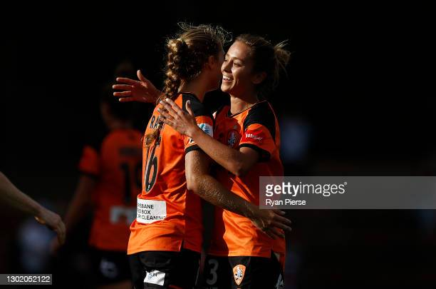 Isobel Dalton of the Roar celebartes after the round eight W-League match between Sydney FC and the Brisbane Roar at Leichhardt Oval, on February 14...