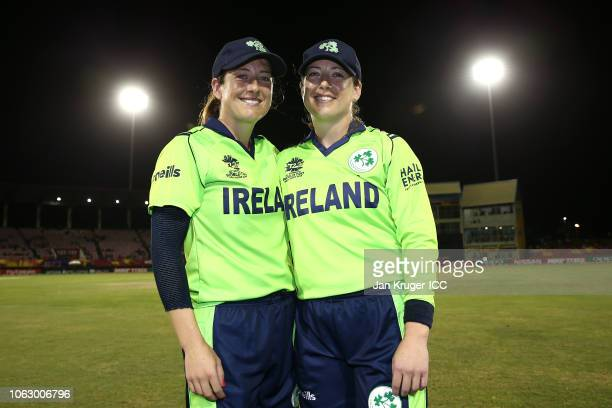 Isobel Joyce and Cecelia Joyce pose following the announcement of their retirement during the ICC Women's World T20 2018 match between New Zealand...