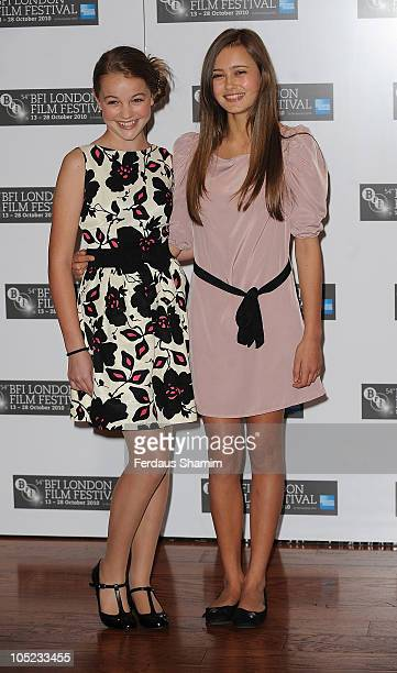Isobel Meikle Small and Ella Purnell attend photocall for 'Never Let Me Go' as part of the 54th BFI London Film Festival at Vue West End on October...