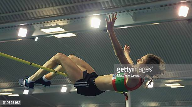 Isobel Pooley in actin during the Womens High Jump during day one of the Indoor British Championships at English Institute of Sport on February 27,...