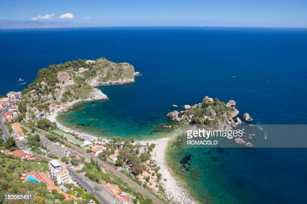 isola bella and mazzaro beach -taormina sicily italy - taormina stock pictures, royalty-free photos & images
