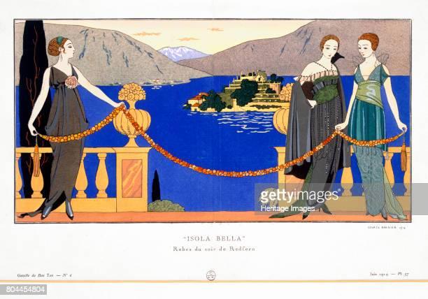 Isola Bella' evening dresses designed by Redfern 1914 Plate 57 from Gazette du Bon Ton June 1914 Pochoir print Artist Georges Barbier