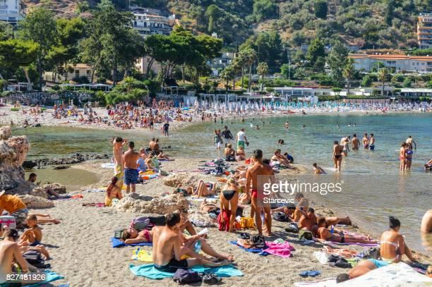 isola bella in taormina - sicily, italy - giardini naxos stock pictures, royalty-free photos & images