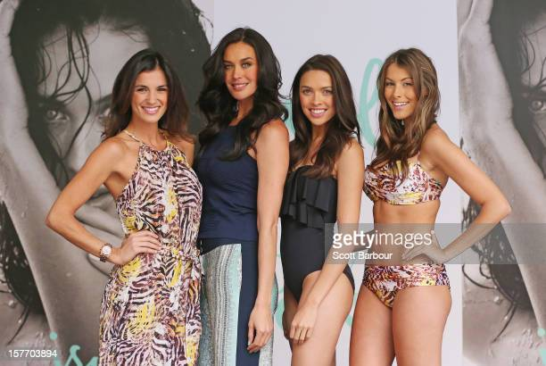 Isola designer Megan Gale poses with models during an Isola Swimwear range preview event at David Jones Bourke Street on December 6 2012 in Melbourne...