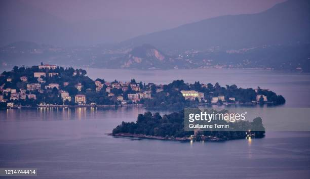 isola madre at night. lake maggiore. - stresa stock pictures, royalty-free photos & images