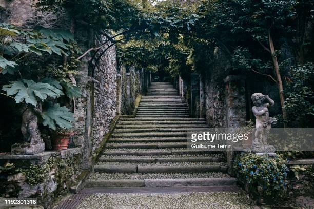 isola madre stairs - stresa stock pictures, royalty-free photos & images