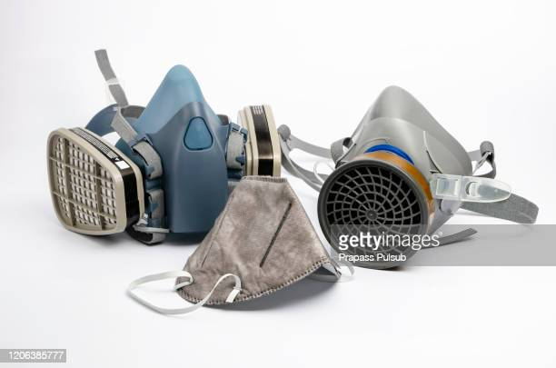 isolate chemical protection mask on white background - air respirator mask stock pictures, royalty-free photos & images