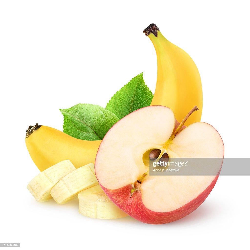 Isolated apple and banana : Stock Photo