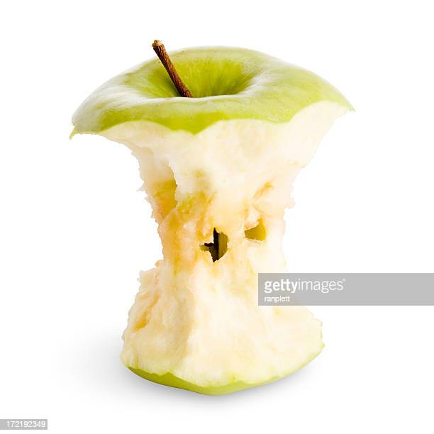 Isolated Apple Core with Clipping Path (3 Part Set)