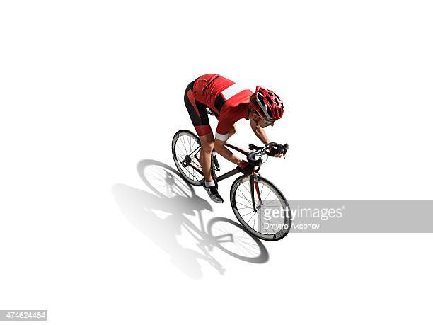 Isolated athlete cyclists