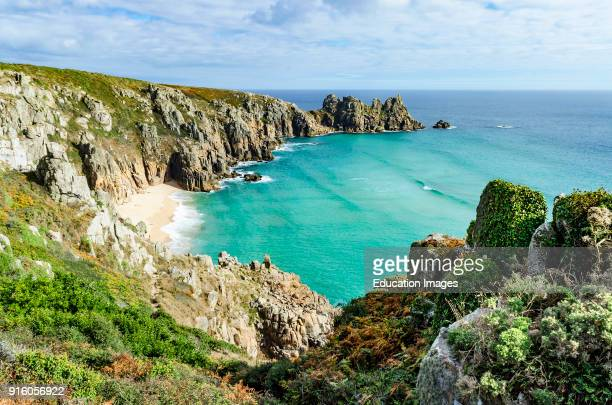 Isolated Beach At Pedn Vounder Near Porthcurno In Cornwall England Britain Uk
