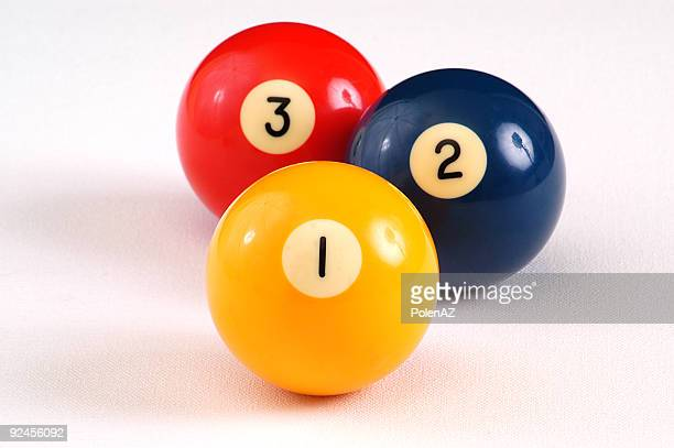 isolated billiards balls numbered one two and three - two objects stock photos and pictures