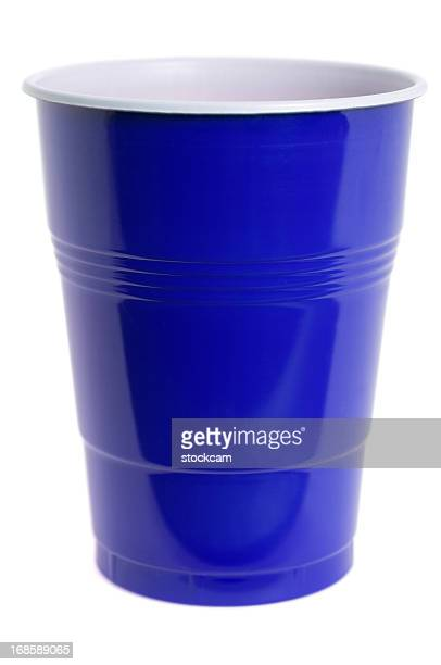 isolated blue plastic cup on white - disposable cup stock pictures, royalty-free photos & images