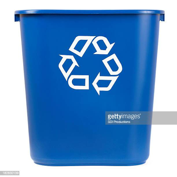 isolated blue recycle bin - garbage bin stock pictures, royalty-free photos & images