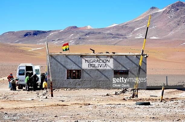 """Isolated Bolivian Migration office at the remote border crossing between Bolivia and Chile at the """"Portezuelo del Cajón"""" mountain pass in the Andes...."""
