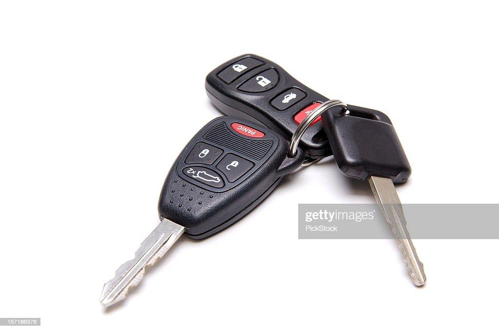 Isolated car keys on white background : Stock Photo