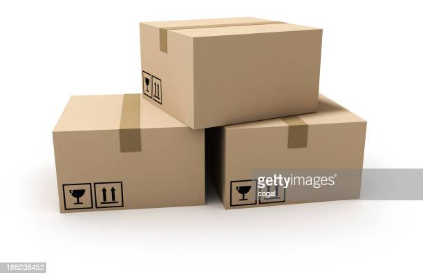 Isolated cardboard boxes.