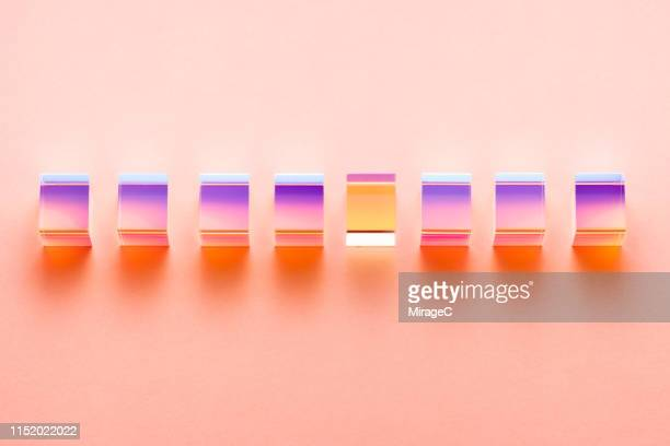 isolated color refraction glass cube prisms - prism stock pictures, royalty-free photos & images